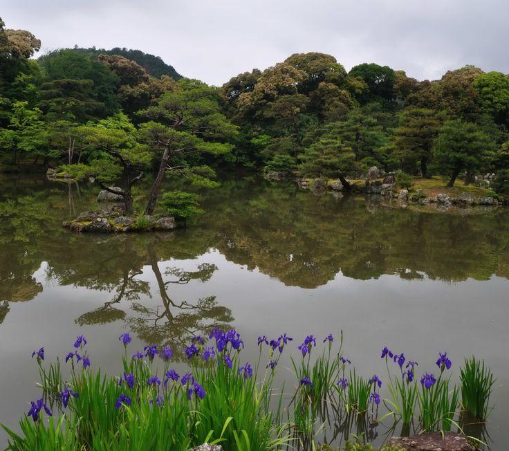 Kinkaku-ji – Kioto, Japonia. W tym ogrodzie pionowo ustawione kamienie miały przypominać góry, inne natomiast żółwie. Założenia japońskie podobnie jak chińskie były atrakcyjne przez cały rok. Wiosną zakwitają wiśnie, latem staw zdobią lilie wodne, a zimą jego brzegi porastają trzciny. Zbiornik posiada 10 wysp, a każda z nich ukształtowana jest tak, że przypomina miejsca znane z literatury chińskiej i japońskiej.