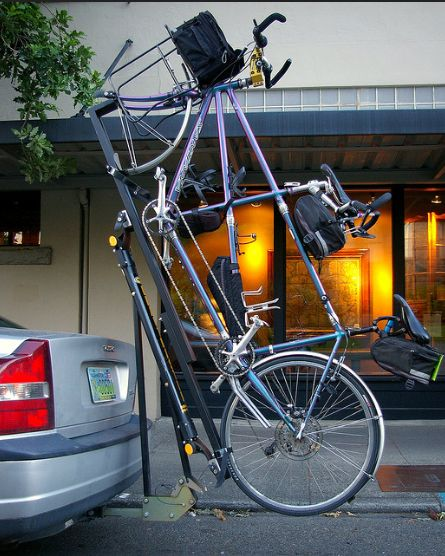 Tandem Car Rack     Crazy Tandem Car Rack spotted in Olympia WA Aug 2nd 2008