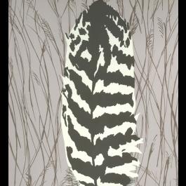 Pour le vestibule: un papier peint écologique   70$ du rouleau (couvre 56 pieds carré)  Graham and Brown Wallpaper - Bittern Feather Pattern at DesignPublic.com