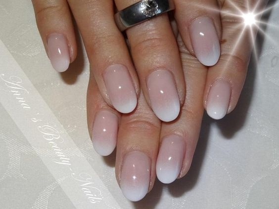pretty oval shaped, baby boomer nails