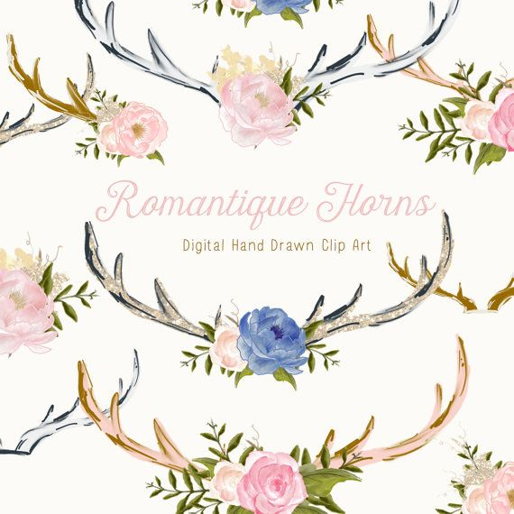 Flower Clip Art Hand Drawn Flowers and Stag Horns  by CreateTheCut