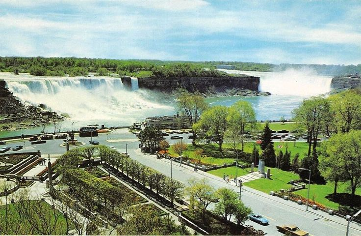 View of both falls circa 1968 Niagara falls, Natural