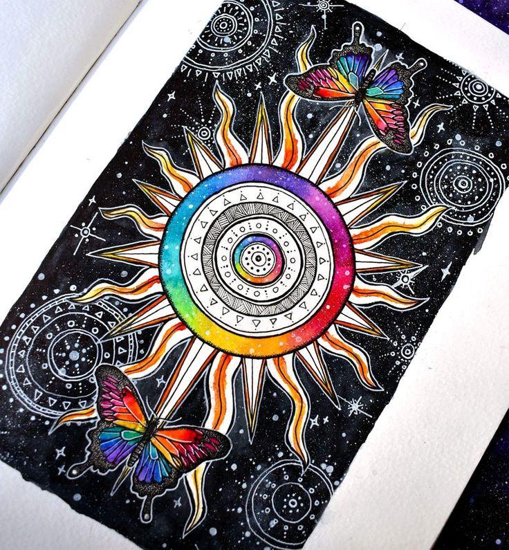 A4 the sun tarot card original wall art print cosmic
