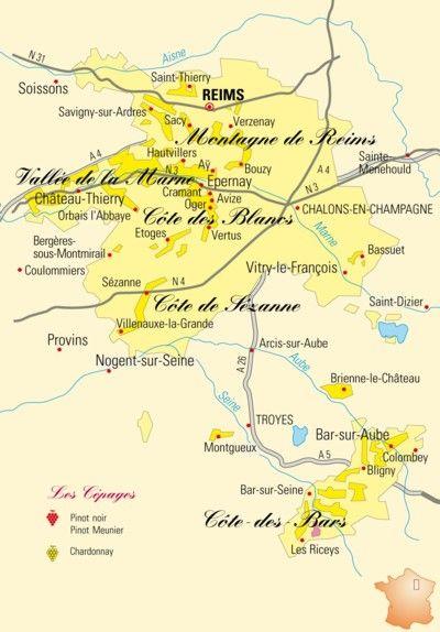 Carte du vignoble des vins de Champagne