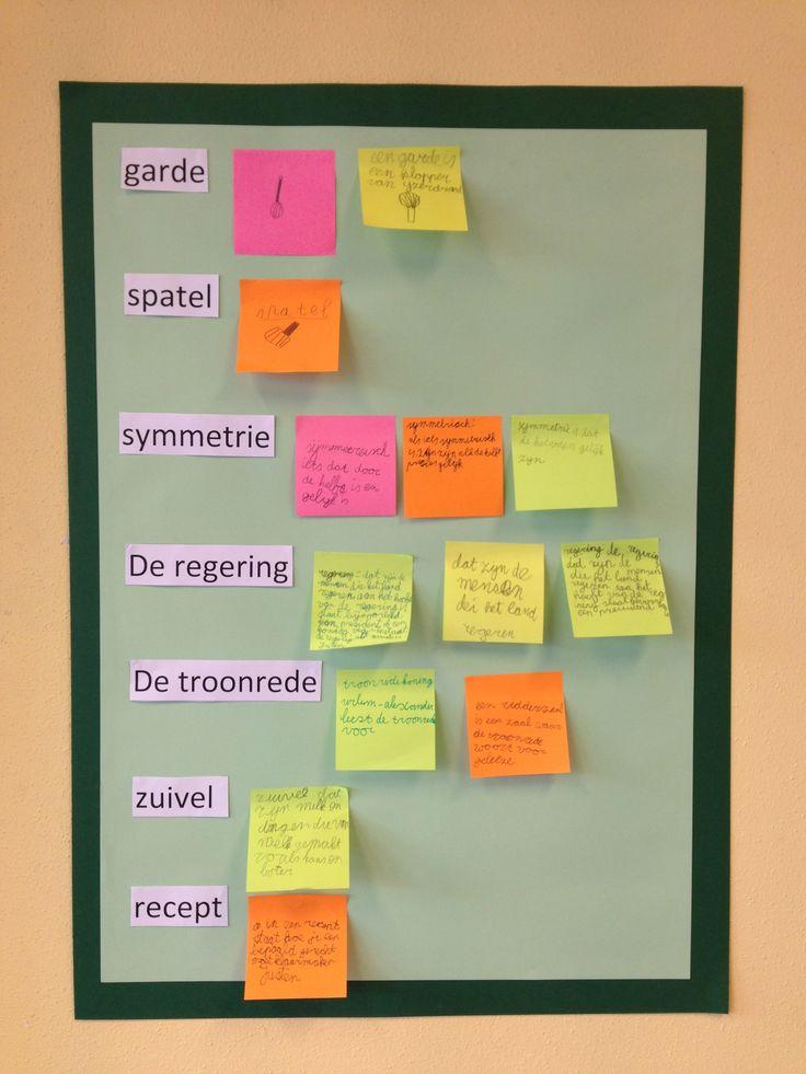 Woorden van de week, de kinderen mogen de woorden op zoeken in woordenboeken, op internet etc. Dan op een post-it schrijven/tekenen en opplakken!