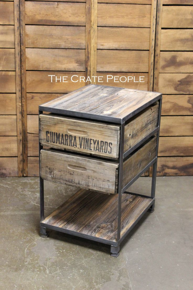 The Crate Nightstand -- Custom Made Crate Furniture -- Vintage Wood Crates and Barn Wood by TheCratePeople on Etsy https://www.etsy.com/listing/465140777/the-crate-nightstand-custom-made-crate