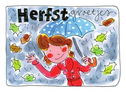 Herfstgroetjes, regen en bladeren- Greetz