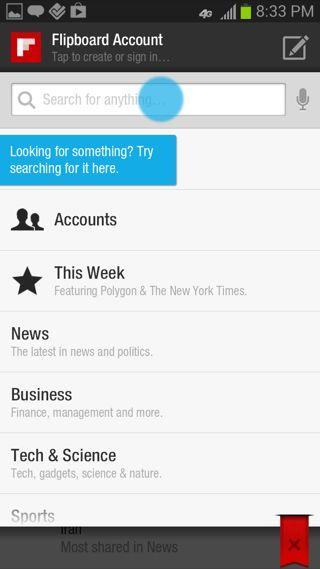 Flipboard Android coach marks screenshot