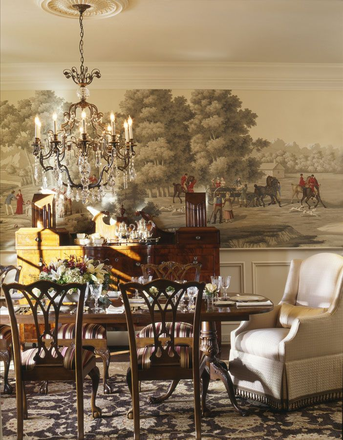 de Gournay: 'La Chasse de Compiegne' design in full custom design colours on Terre Fonce scenic paper. Interior design by Robert Brown Interior Design. Photography by Chris Little