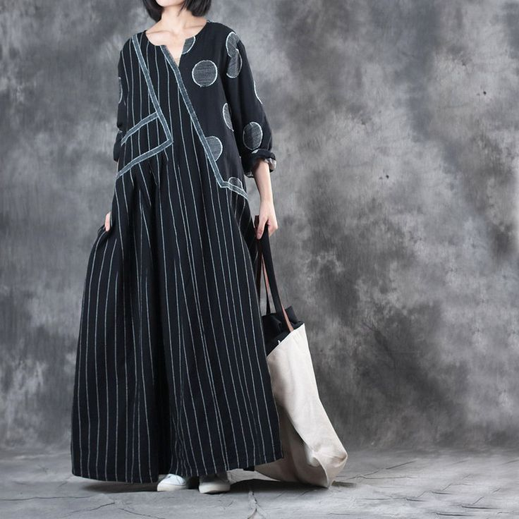 Black Contrast Polka Dot Plus Size Maxi Dress Stripes Linen Dress    #dress #maxi #black #plussize #stripes #dot #fall #autumn #linen #flax #clothing #outfits #style