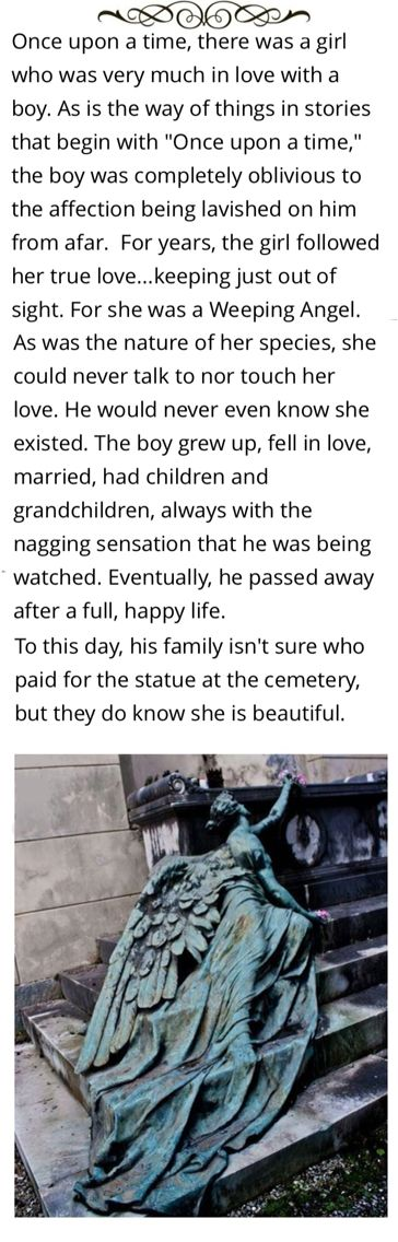 Headcanon accepted: That time a 'Doctor Who' weeping angel fell in love<<< I'm going to cry now...
