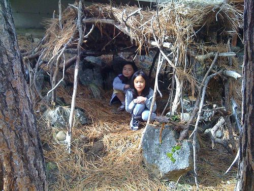 11 best stick fort images on pinterest cabins outdoor for Homemade forts outdoors