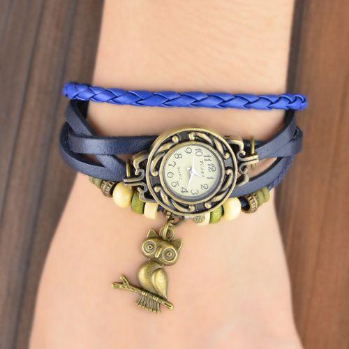 Nuevas mujeres de alta calidad de cuero genuino reloj vintage, búho colgante brazalete pulsera, envío libre Dropshipping-in de pulsera de los relojes en Aliexpress.com | Alibaba Group
