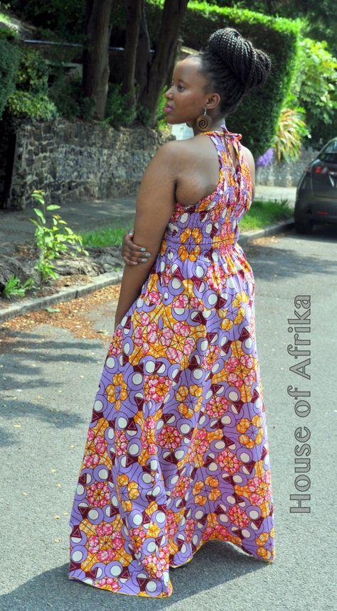 Lola African print maxi dress par HouseofAfrika sur Etsy