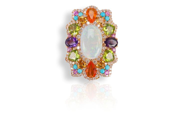 Anello ALLEGRIA in oro rosa, con opale arlecchino, opali di fuoco, zaffiri multicolor e diamanti. Pezzo unico.