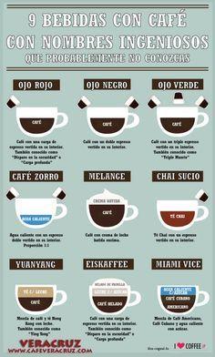 9 bebidas de café con nombres ingeniosos #infografia