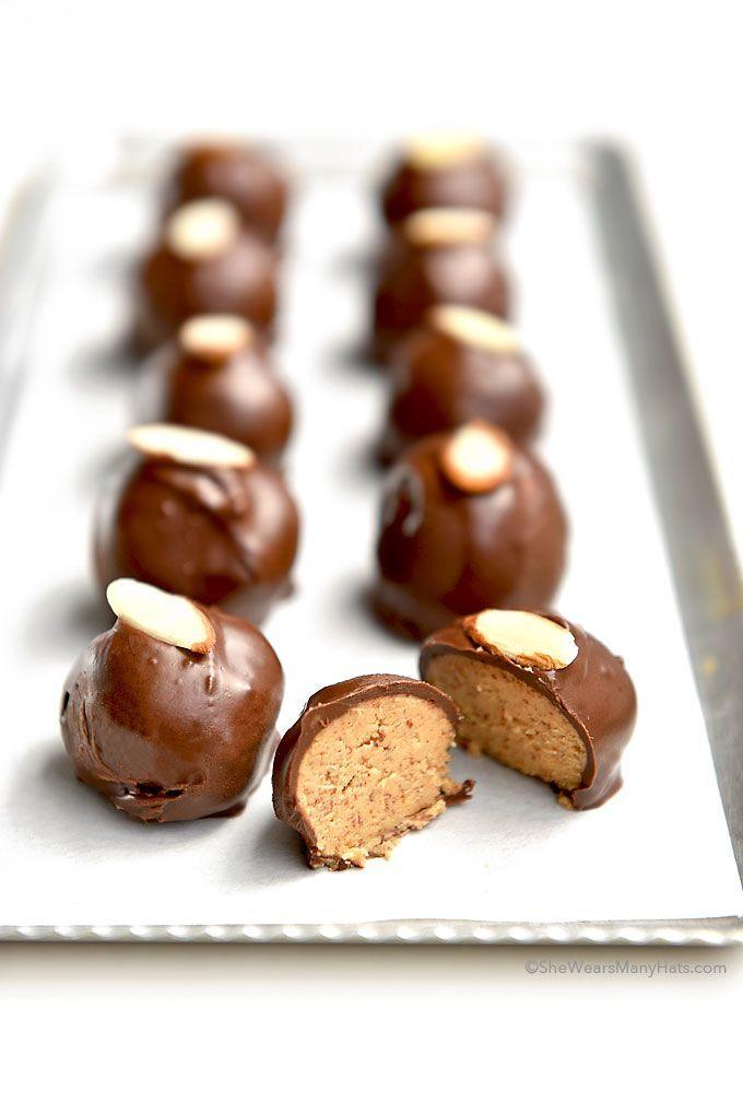 Chocolate Almond Butter Balls #sweet #treat #chocolate