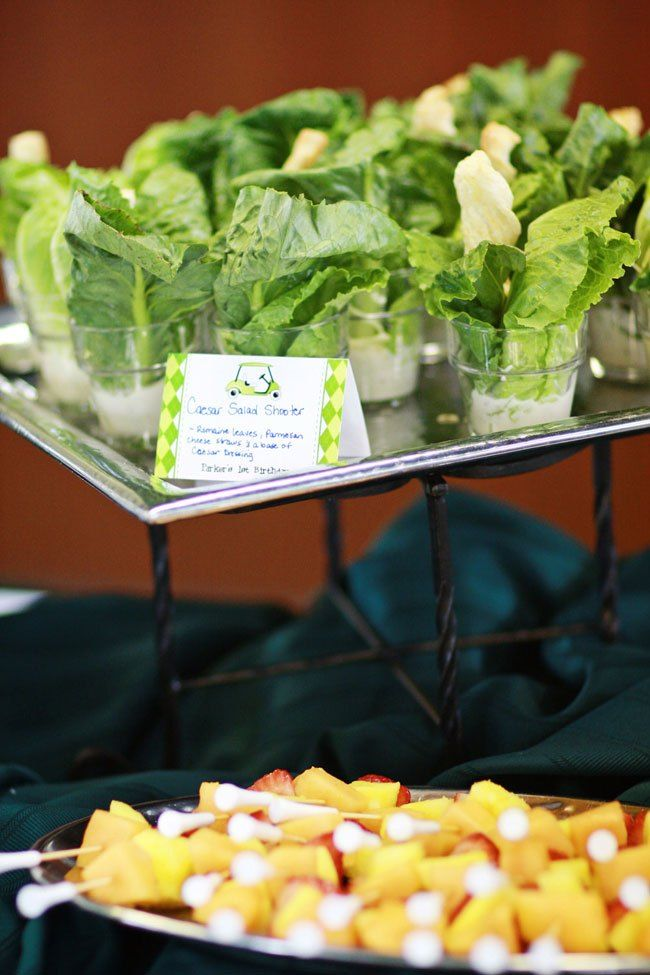 Golf party food ideas-salad shooters- B. Lovely Events
