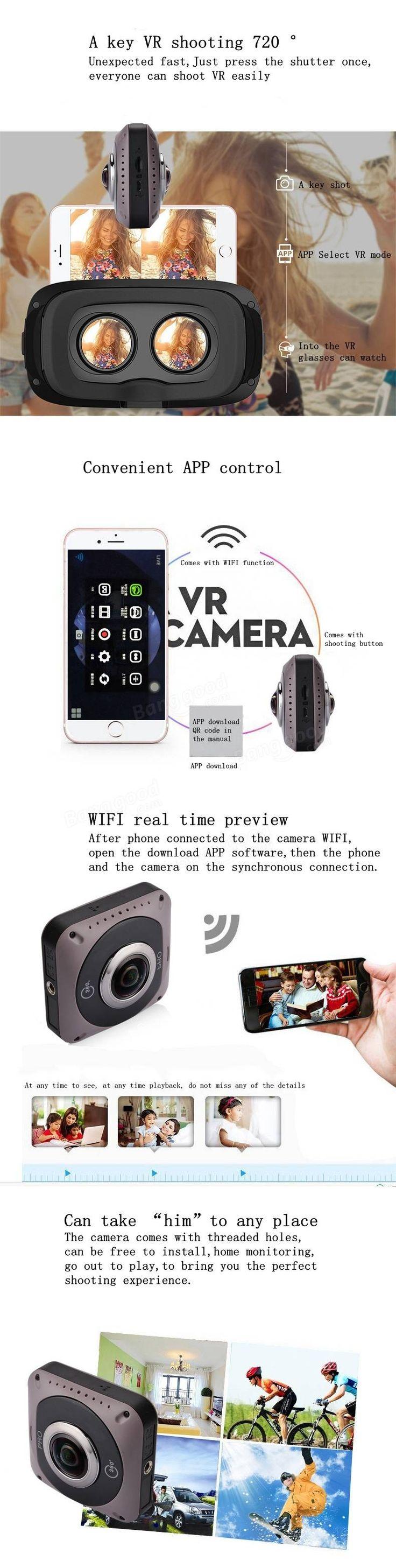 360°*360° Panoramic VR Sports Camera 720° Mini WiFi Action Sports DV Double Sided Fish Eyes Lens Gravity Sensor