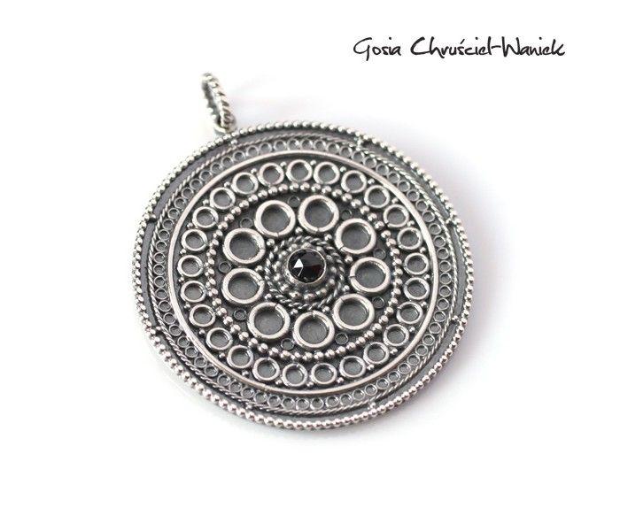 www.gosiawaniek.pl #mandala #silver #spinel #silversmith #necklase