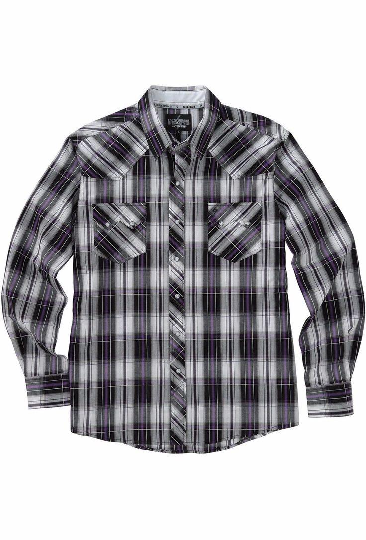 Cinch Men's Garth Brooks Sevens Black White Purple Western Shirt
