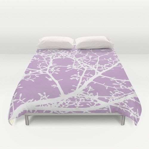 Magnolia Tree Branches Duvet Cover Lavender Purple And