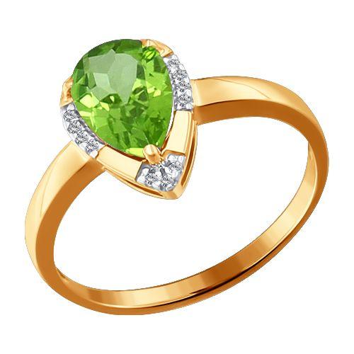 Изящное кольцо с хризолитом золотое