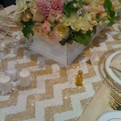 Chevron.Sweetheart Table, Food Tables, Sequins Chevron, Chevron Tables, Gold Sequins, Tables Runners, Head Tables, Tables Linens, Table Runners