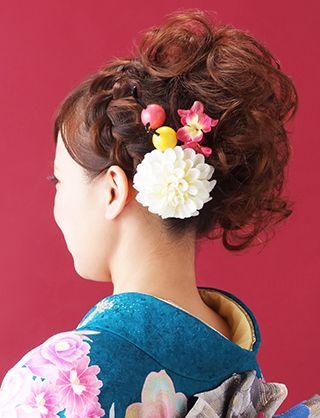 【振袖ヘア】ホイップカールで作る成人式サイドアップ 夢館ビューティー    京都    着物着付・ドレスヘアセット&メイク    結婚式・およばれ・パーティに