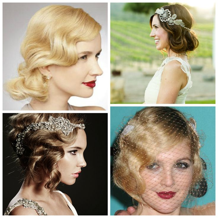 Reception Hair Piece!  The Bottom Left Headpiece is Amazeballs!    1920s inspired bridal beauty and hair style