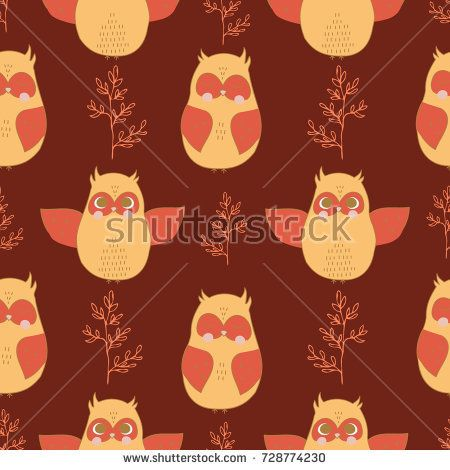Seamless vector pattern with childish owl design in brown colors