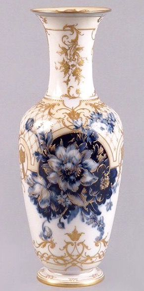 KPM ENAMEL AND GILT PORCELAIN VASE WITH FLOW BLUE