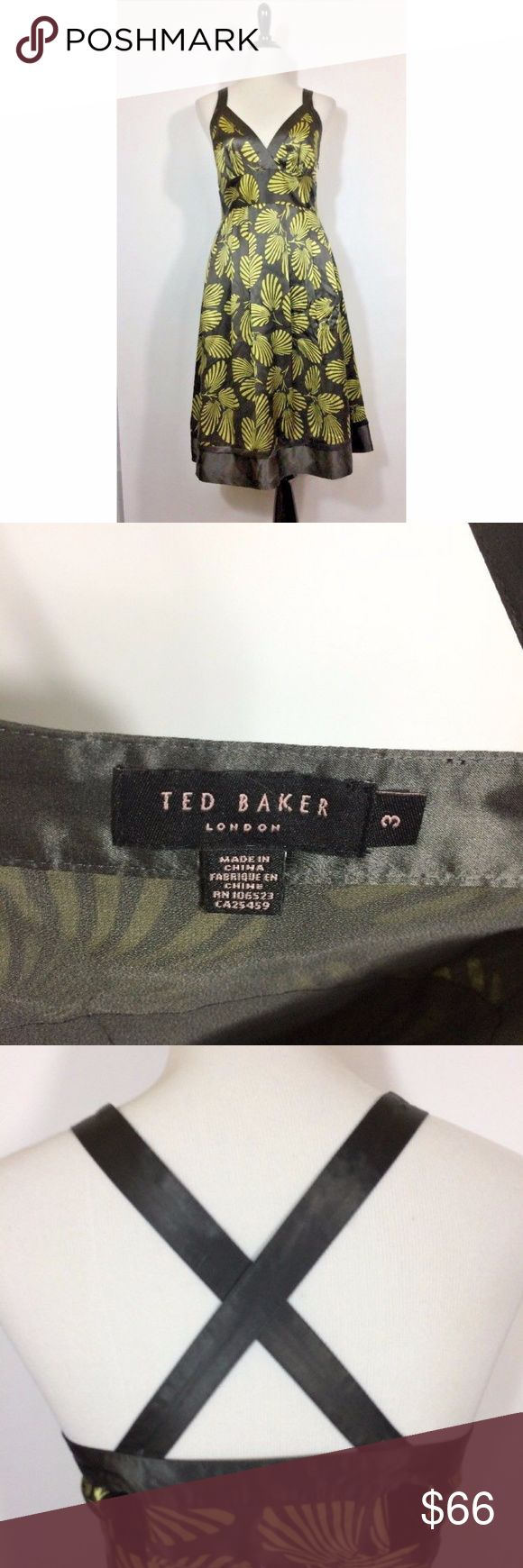 Spotted while shopping on Poshmark: Ted Baker Silk Dress Gray Taupe Green Leaf Print 3! #poshmark #fashion #shopping #style #Ted Baker #Dresses & Skirts
