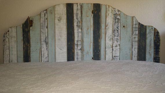 California King Pallet Wood Headboard Distressed Paint
