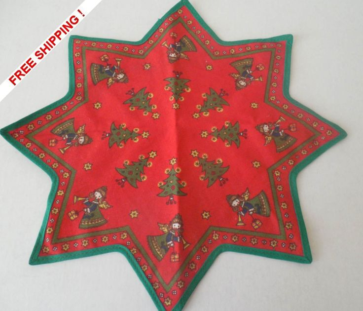 Vintage Kolf Austria Holiday Christmas Table Scarf/Doily Star Design Tree Angels by VintageSistersx2 on Etsy