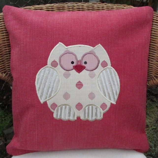 Owl cushion - Coral pink with gold applique owl £12.00