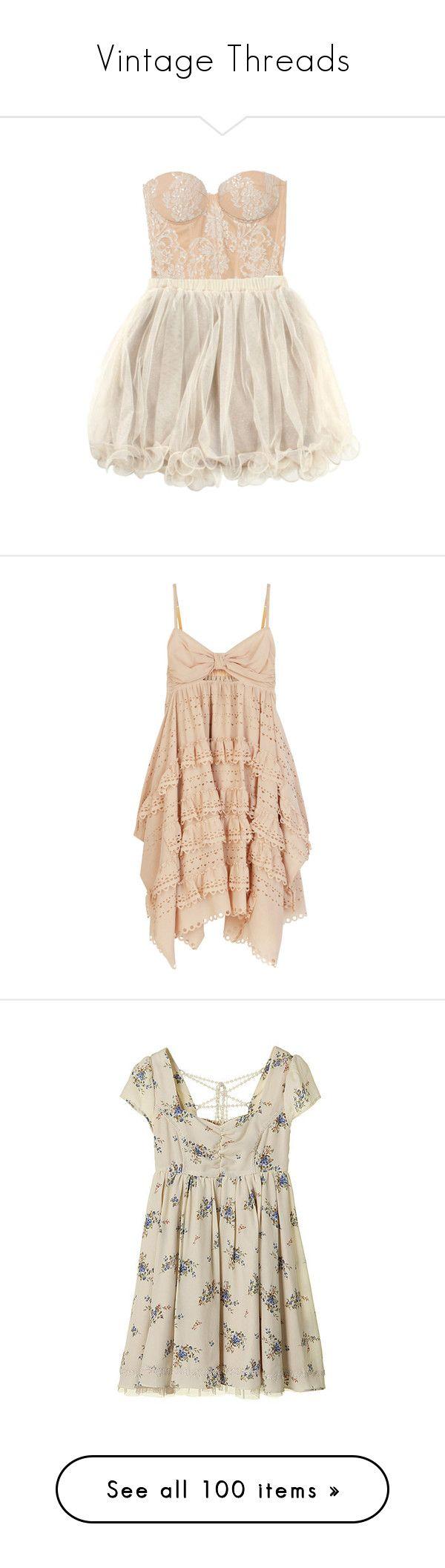 """Vintage Threads"" by krule ❤ liked on Polyvore featuring dresses, vestidos, short dresses, sukienki, tops, vestiti, women, holiday dresses, cocktail dresses and holiday cocktail dresses"