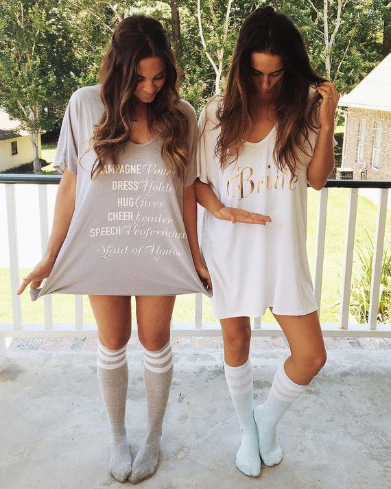 These comfy-looking tees come in bride, bridesmaid, and maid of honor, in pink, blue, and gray.      Getting-ready tee, from $79, ShowMeYourMumu.com.