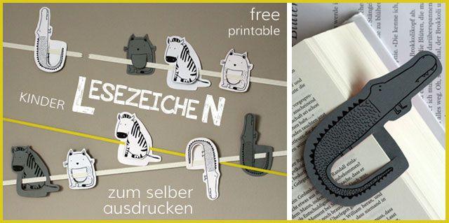 Lesezeichen zum Ausdrucken - Free printable childrens bookmarks - Kindertage