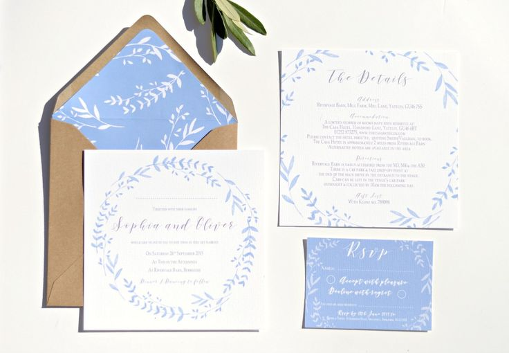 Cornflower Blue wreath wedding collection. A beautiful range with a spring/summer feel. Featuring a delicate wreath design in cornflower blue colours. By Grace and Bramble at rivervale barn