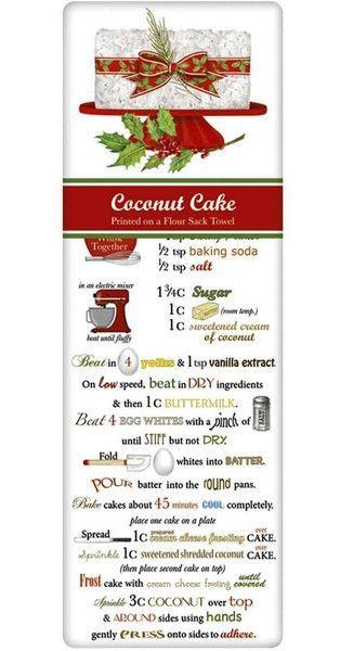 Fancy Christmas Coconut Cake Recipe 100% Cotton Flour Sack Dish Towel Tea Towel