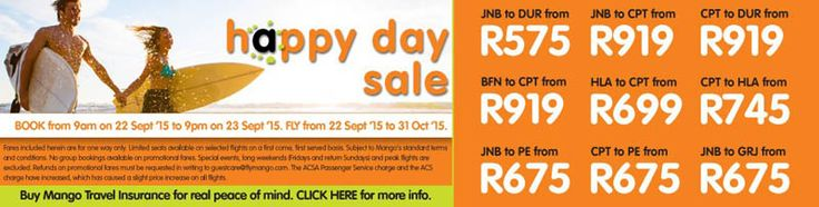 Mango Airlines announces one more lucrative Happy Day Sale offer to let all travellers to book flight tickets at lowest prices for journeys all around South Africa.