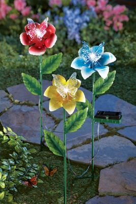 161 best garden lights images on pinterest for Butterfly lawn decorations