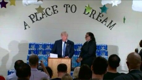 "Several minutes into Trump's remarks at Bethel United Methodist Church on Wednesday, Rev. Faith Green-Timmons reminded the real-estate mogul that the event was intended to focus on the water-crisis recovery in Flint, where state cost-cutting measures resulted in lead contamination in the city's water supply. ""Mr. Trump, I invited you here to thank us for what we've done for Flint, not to give a political speech,"" the Pastor said."