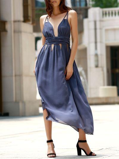 Hollow Out Cami Backless Maxi Dress GRAY: Maxi Dresses | ZAFUL