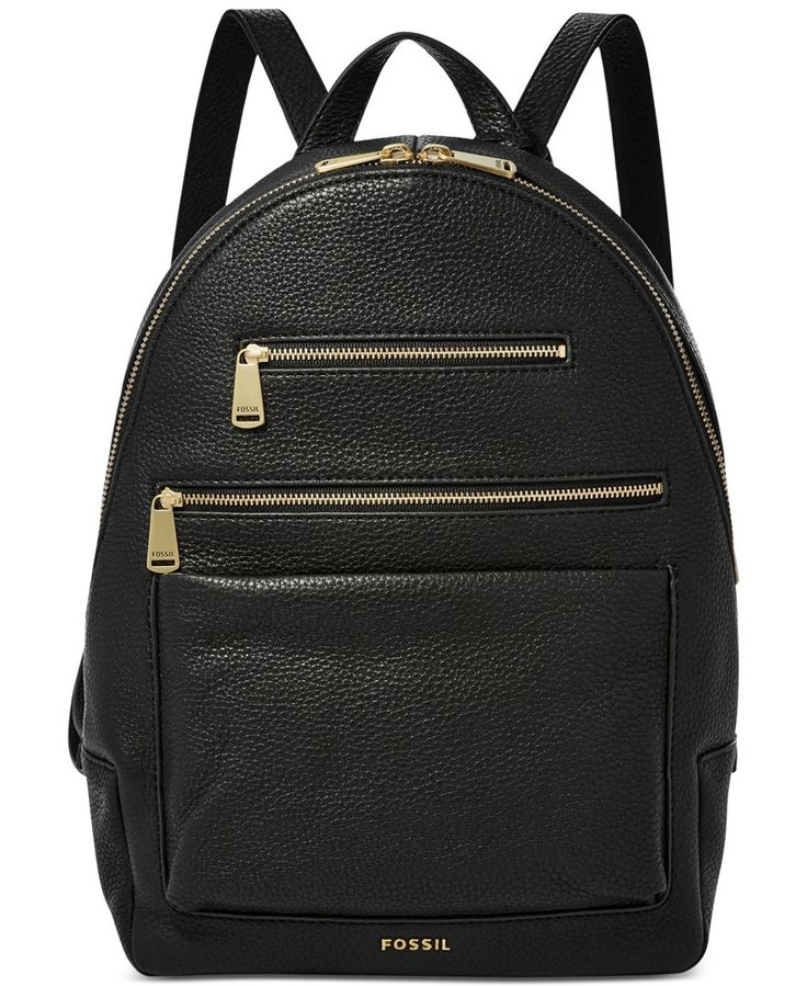 """Embrace a sophisticated take on a classic silhouette with this streamlined leather backpack by Fossil. 