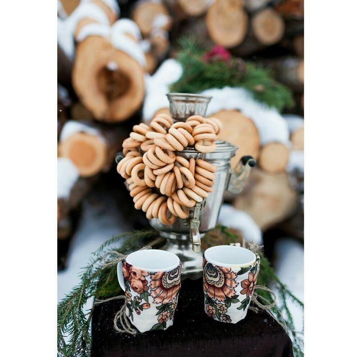 зимняя свадьба, декор, любовь, самовар, баранки. winter wedding, decor, love, samovar, bagels.