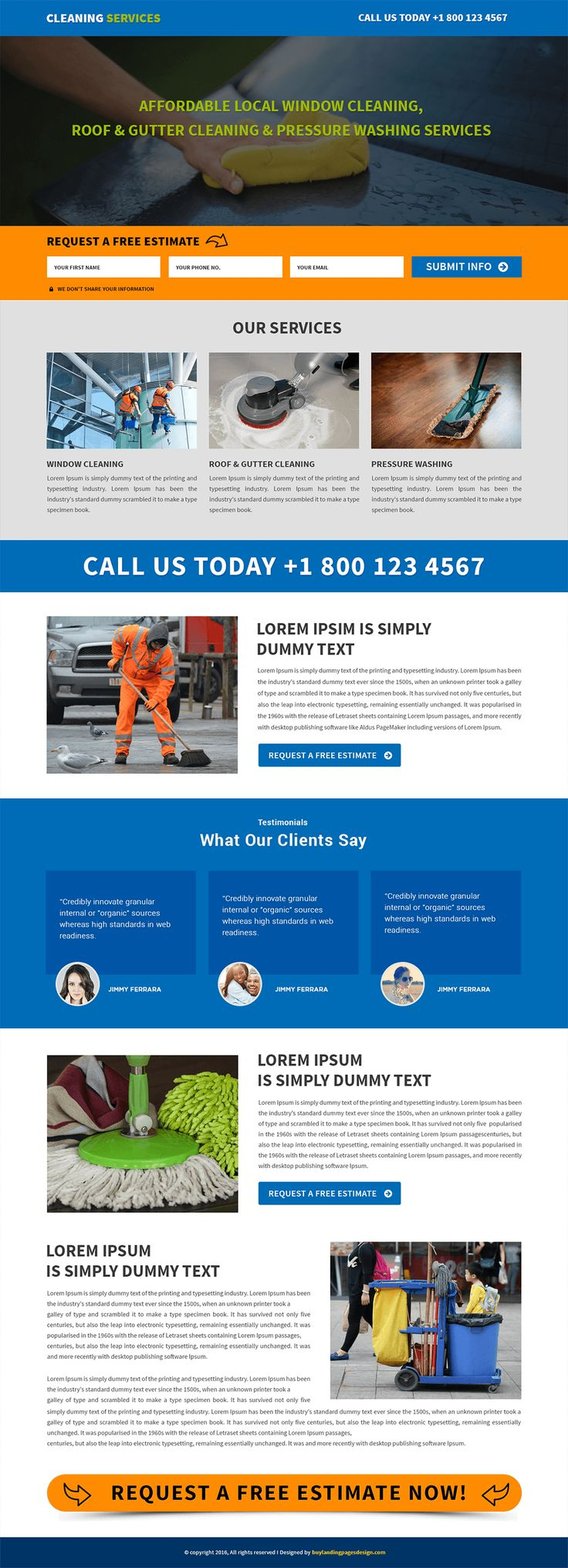 Responsive Cleaning Services Landing Page Template $29 only BuyNow!