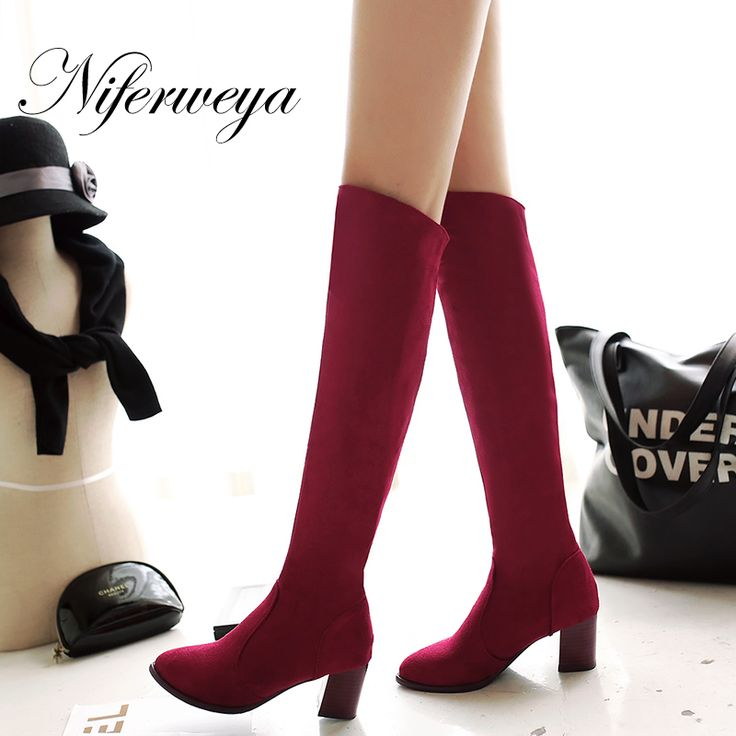 >> Click to Buy << Fashion winter women botas Sexy Pointed Toe high heel shoes solid suede Slip-On Over-the-Knee boots big size 34-45 CHD-C109  #Affiliate