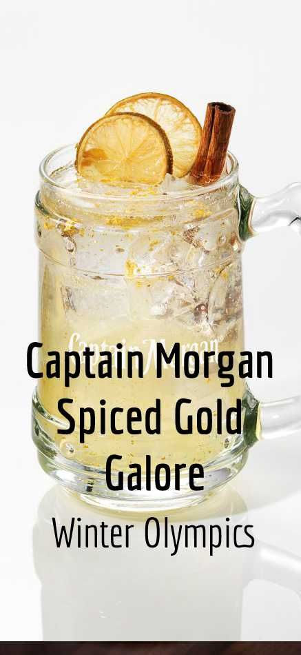 Captain Morgan Original Spiced Gold and Smirnoff Gold meld with tangy lime for a deliciously spicy, sweet and sour cocktail with real gold flakes. Top with champagne for extra enjoyment, and imagine you're going for gold. #WinterOlympics #WinterCocktails #OlympicsCocktails #WinterDrinks #WinterWarmers #Winter #Mixology #CocktailRecipes #Cocktails #CocktailRecipe #Drinks #DrinkInspiration